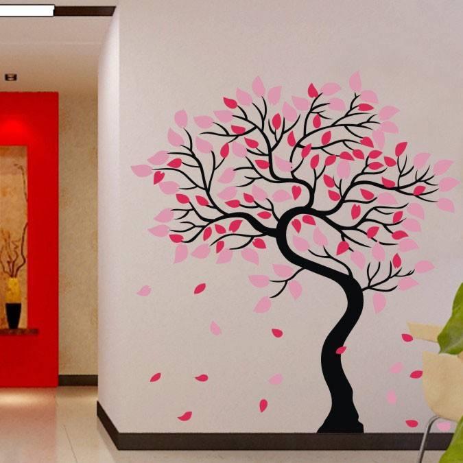 Roze Kinderkamer : Kinderkamer roze muursticker mooie boom babykamer