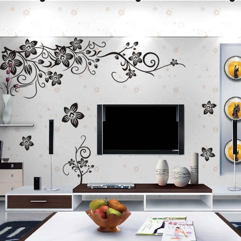 muursticker sierlijke takken met bloemen - muurstickers&zo, Deco ideeën