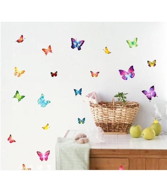 Muursticker mooie gekleurde vlinders