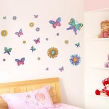 Muursticker kleurrijke vlinders en bloemen