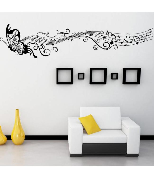 Muursticker mooie muziek vlinder zwart