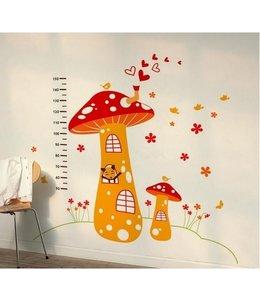 Muursticker groeimeter paddenstoel