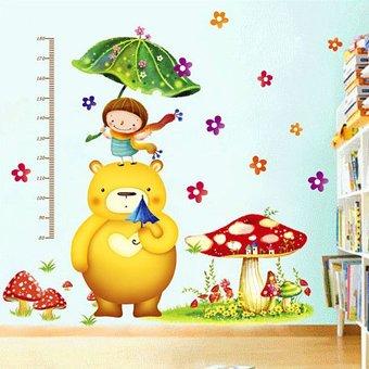 Muursticker groeimeter paddenstoel met beer- babykamer kinderkamer ...