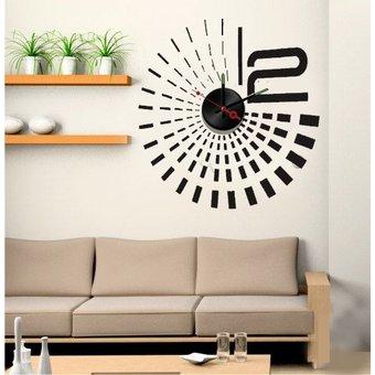 Muursticker klok design zwart