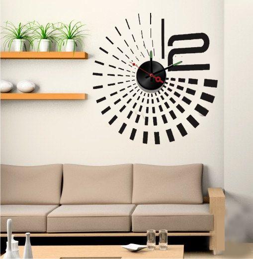 Muursticker klok design zwart - Muurstickers&zo