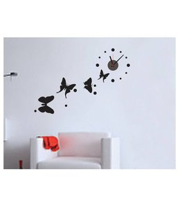 Muursticker klok mooie zwarte vlinders