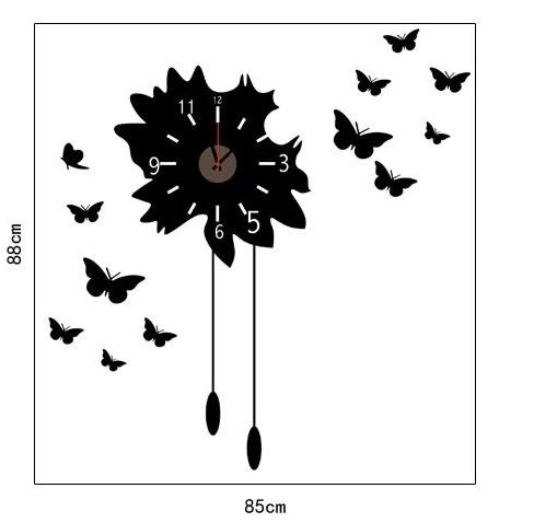 ... : Muursticker klok mooie zwarte vlinders u2013 muurstickers woonkamer