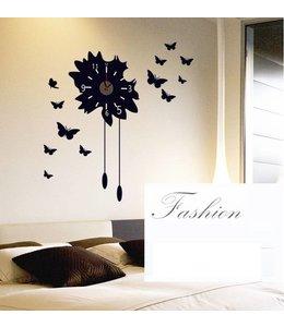 Muursticker klok zwarte vlinders