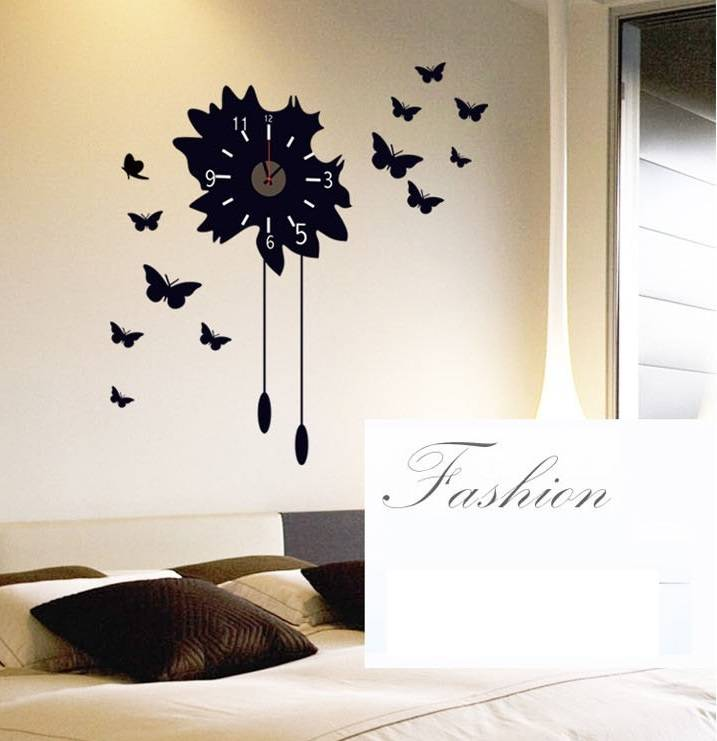 muursticker klok mooie zwarte vlinders - muurstickers woonkamer, Deco ideeën