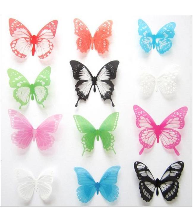 3D vlinders vrolijke kleuren
