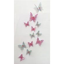 3D vlinders met bloemen en vlinders