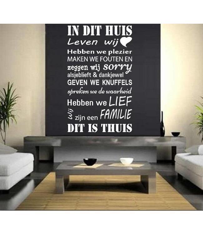 Muursticker Huisregels 2 - In dit huis leven wij, hebben we plezier