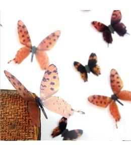 3D vlinders serie bruin