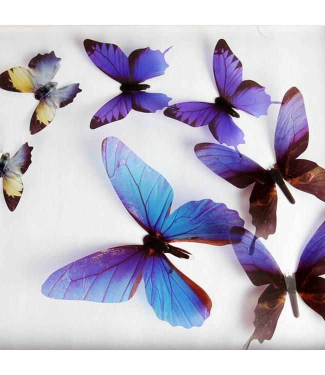 3D vlinders serie blauw
