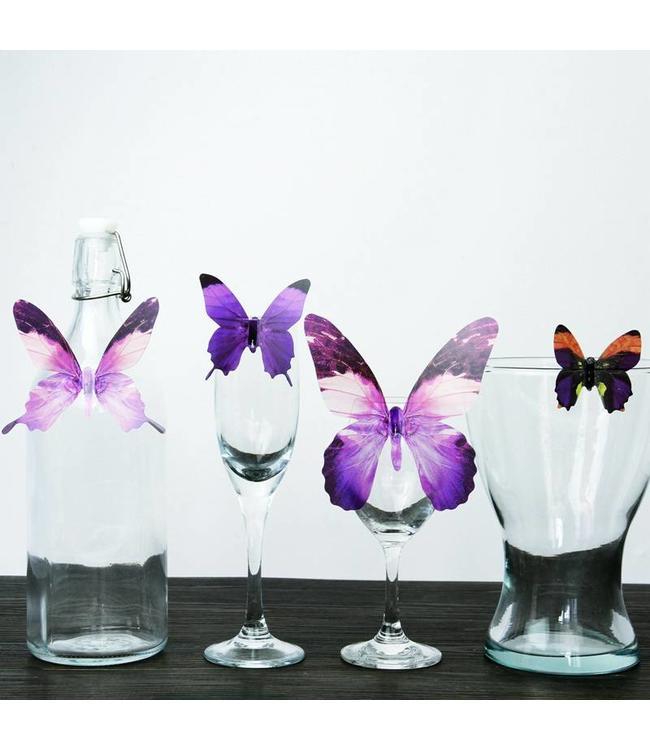 3D vlinders serie paars