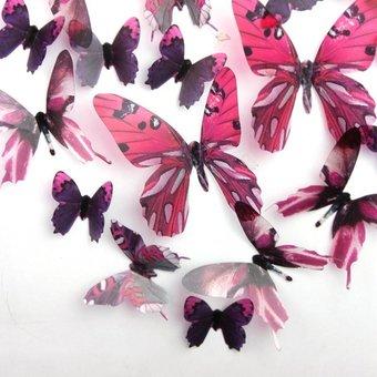 3D vlinders serie roze