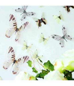 3D vlinders serie wit