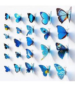 3D vlinders blauw meerkleurig