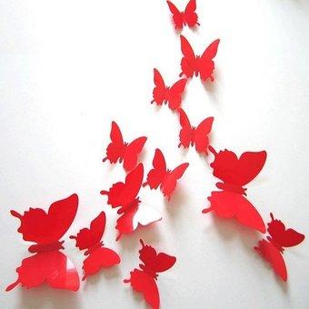 3D vlinders rood