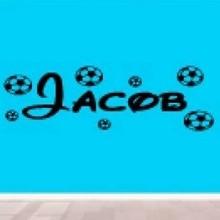 Naamsticker met voetballen