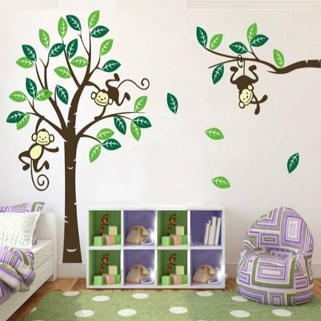 muursticker boom met aapjes - muurstickers kinderkamer babykamer, Deco ideeën