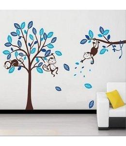 Muursticker boom met aapjes blauw- bruin stam