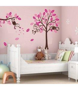 Muursticker boom met aapjes roze