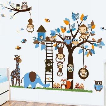 Muursticker boom uil aapje giraffe en andere diertjes blauw