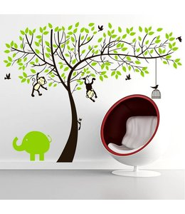 Muursticker boom met aapjes en olifant
