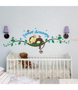 Muursticker schattig aapje sweet dreams