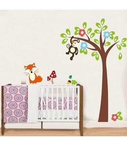 Muursticker boom met aapje en vosje