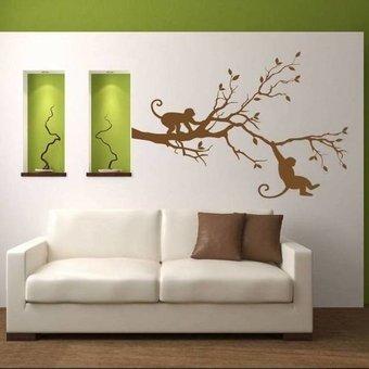 Muursticker aapjes op tak