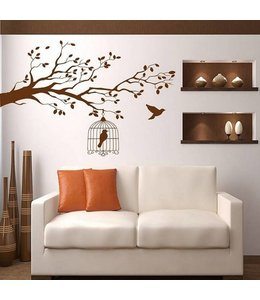 Muursticker mooie tak met vogelkooi