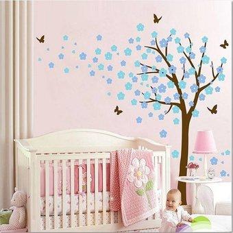 Muursticker bloesemboom XL lichtblauw