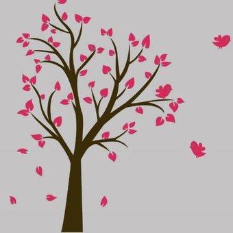 Muursticker bruine boom met roze blaadjes