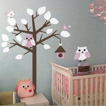 Muursticker boom met uil wit- roze