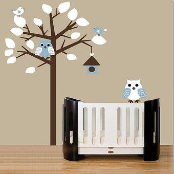 Muursticker boom met uil wit- blauw