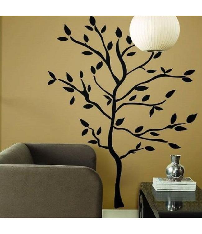 Muursticker mooie zwarte boom - woonkamer slaapkamer - Muurstickers&zo
