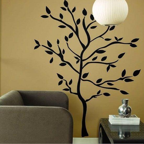 muursticker mooie zwarte boom - woonkamer slaapkamer - muurstickers&zo, Deco ideeën