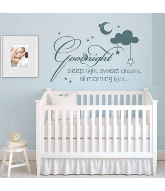 Muursticker goodnight sleep tight, sweet dreams