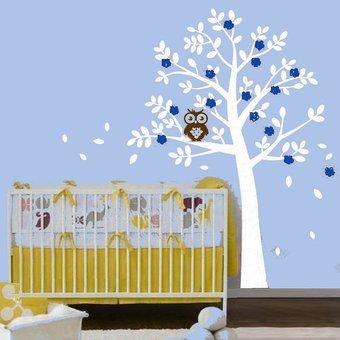 Muursticker boom met uil blauw