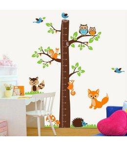 Muursticker groeimeter boomstam met diertjes
