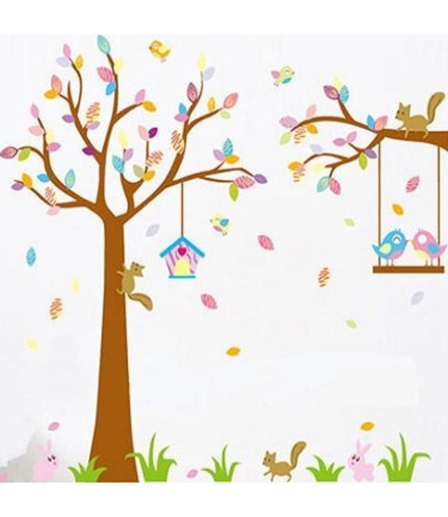 Muursticker boom gekleurde blaadjes en vogels op schommel