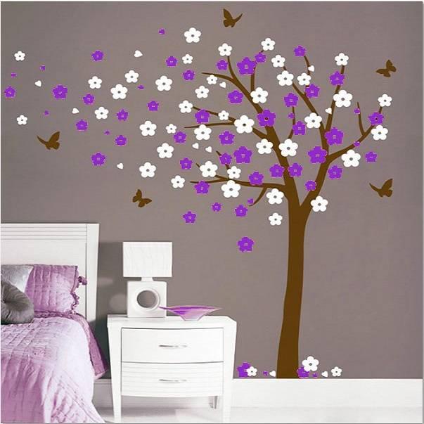 muursticker bloesemboom xl paars-wit - muurstickers&zo, Deco ideeën