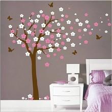 Muursticker bloesemboom XL roze - wit