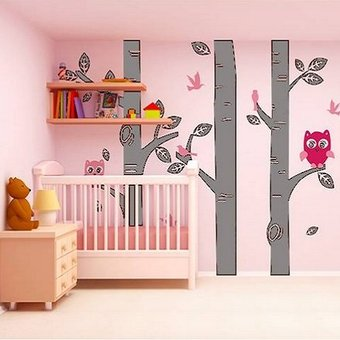 Boomstammen met uiltjes grijs roze kinderkamer babykamer muurstickers zo - Roze kinderkamer ...