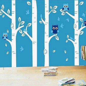 Muursticker Boomstammen met uiltjes wit wit blauw