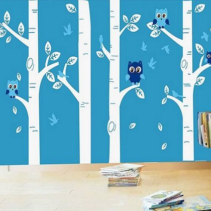 Muursticker boomstammen met uiltjes wit blauw kinderkamer babykamer muurstickers zo - Blauwe kamer kind ...