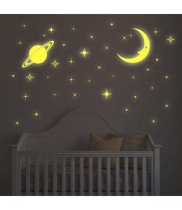 Muursticker glow in the dark maan sterren en planeet