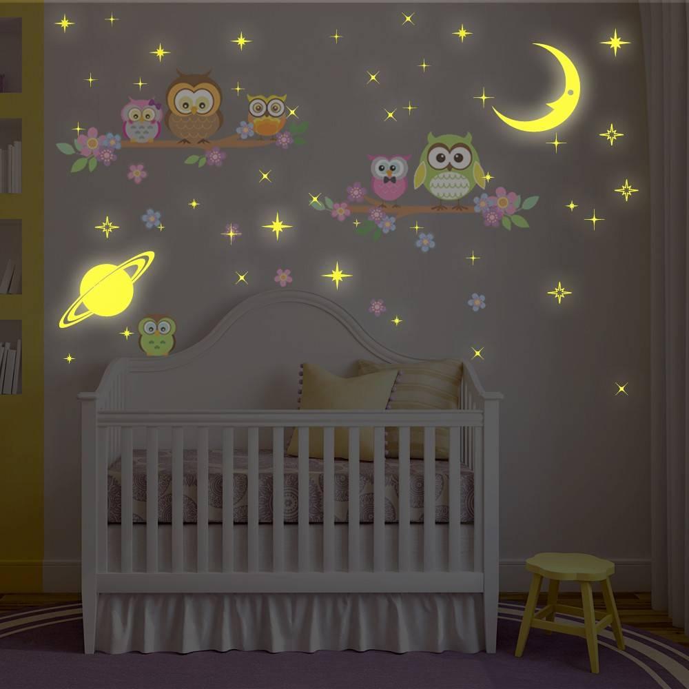 muursticker leuke uiltjes op takken met glow in the dark sterren, Deco ideeën